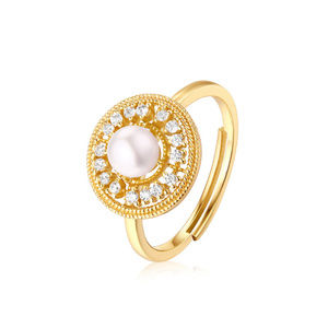 Pearl Engagement Ring Simulated Diamond halo ring
